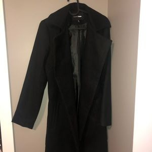 Fashion Nova Black Suede Trench Clay